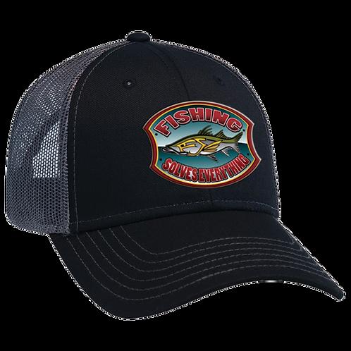 Fishing Solves Everything Trucker Hat - Black