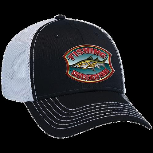 Fishing Solves Everything Trucker Hat - Black & White