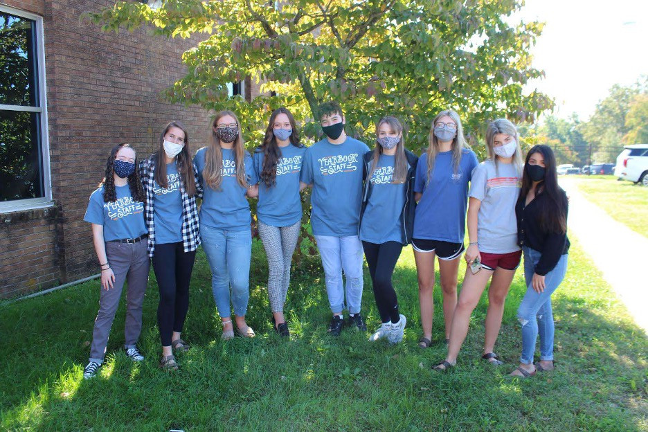 The Morristown West High Yearbook Staff from left to right: Lauren Gray, Molly Wright, Allie Mckenna, Adison Manuel, Dallas Lindsey, Brooklyn Chance, Cassidy King, Hailey King, and Gabby Valdez.