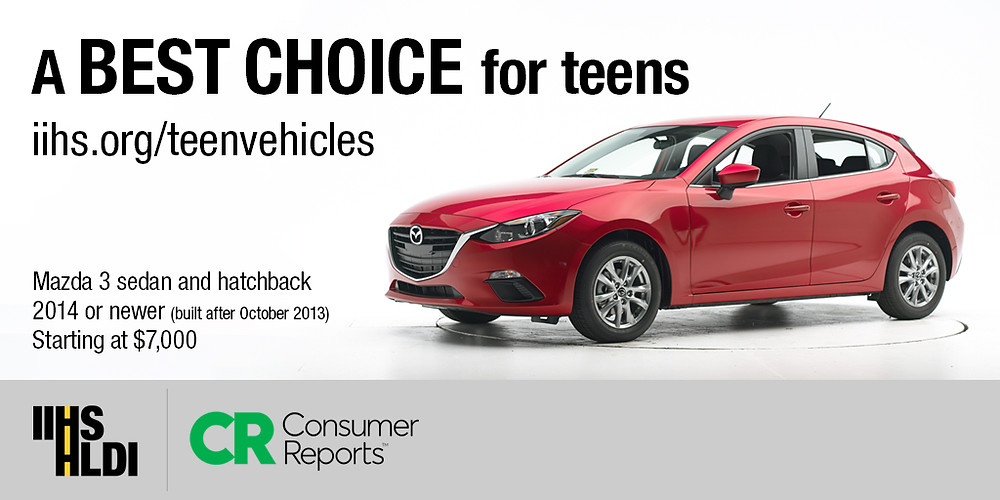 The Mazda 3 Sedan, one of IIHS top picks for teens. (Photo courtesy of Insurance Institute for Highway Safety)