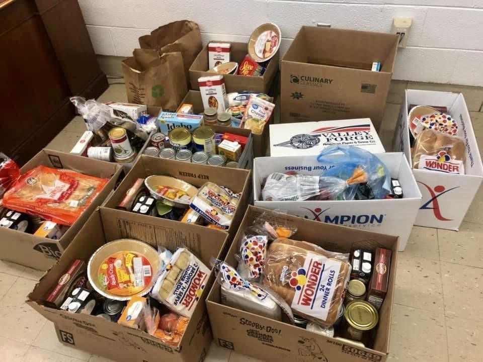 Part of the many boxes that were donated to the Thanksgiving Drive