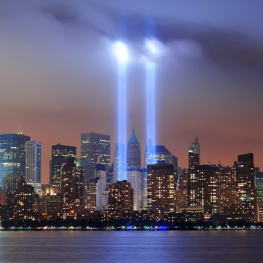 Beams of light shine to commemorate September 11, 2001 and the twin towers