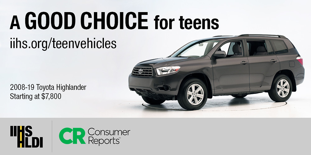 The Toyota Highlander, one of IIHS picks for teens. (Photo courtesy of Insurance Institute for Highway Safety)