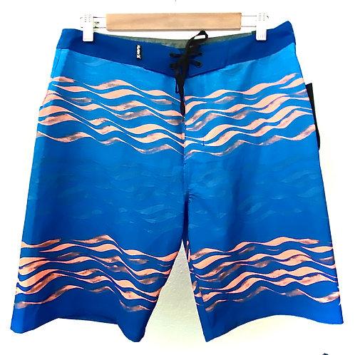 BoardShort HURLEY (azul, olas naranja)