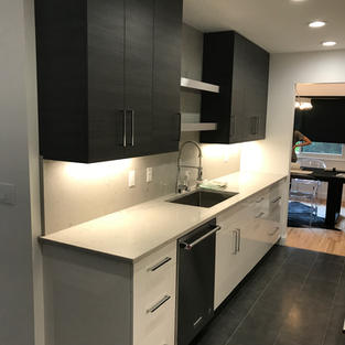 Modern Galley Kitchen, LaurierMax Cabinetry, Caesarstone Countertop