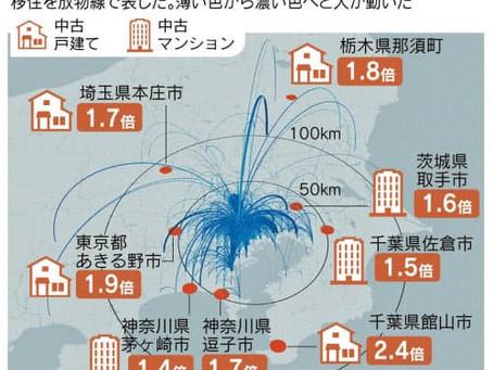 東京郊外へ移住じわり 転出者2割増