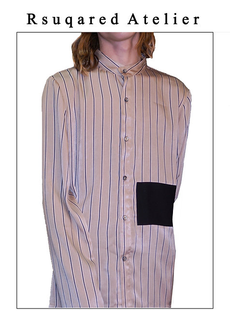 Rsquared Atelier   Acetate Stripe Patchwork Shirt