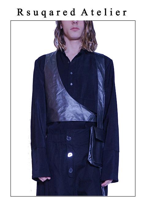 Rsquared Atelier | Black Neckline Placket Shirt