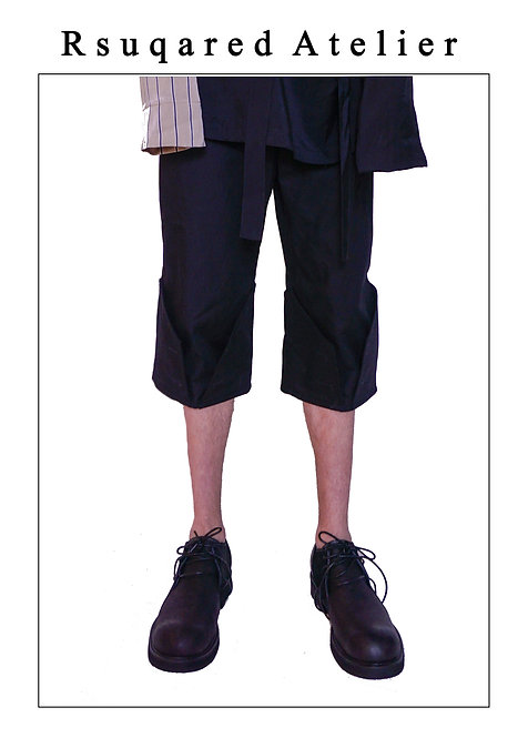Rsquared Atelier | Black Folded Edge Shorts