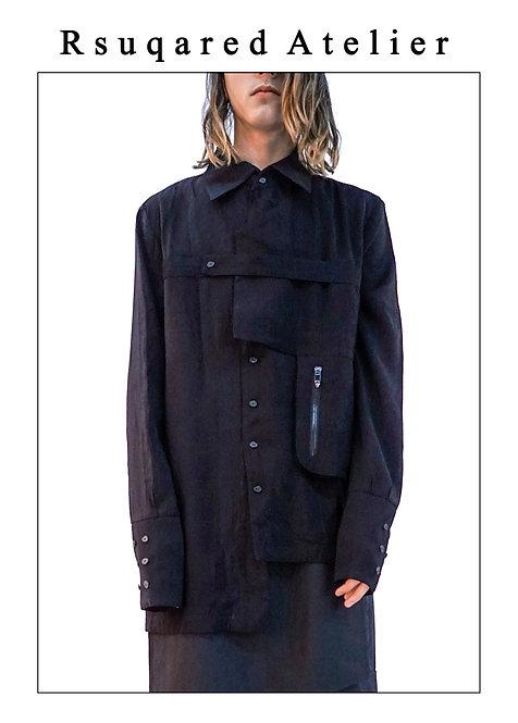Rsquared Atelier | Black Asymmetric Shirt