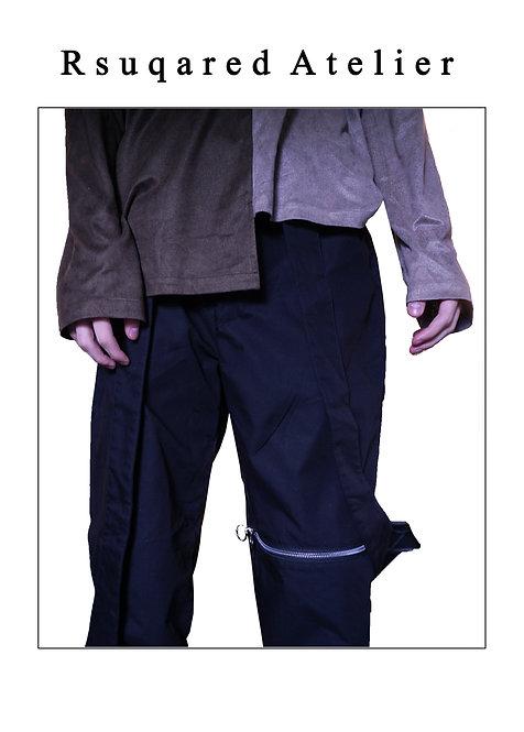 Rsquared Atelier | Black Pants with Asymmetric Straps