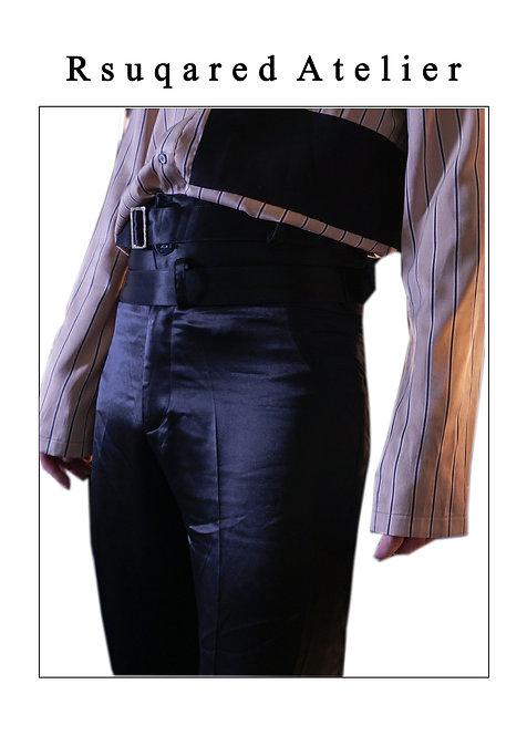 Rsquared Atelier | Black High Waist Acetate Pants