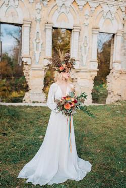 невеста, бохо, букет, венок