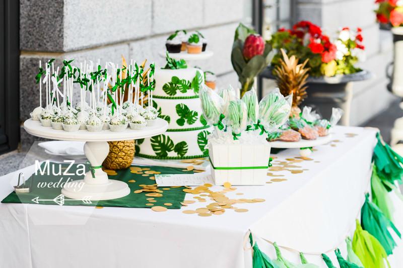 MuZa-wedding: wedding candy bar, wedding cake, wedding cupcakes, wedding candy pops, monstera, proteya, ananas,