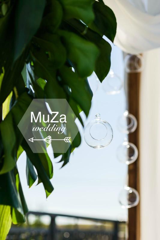 монстера, стеклянный флорариум, свадьба, арка, зона свадебной церемонии, свадебное агентство в Киеве MuZa-wedding, тропическая свадьба