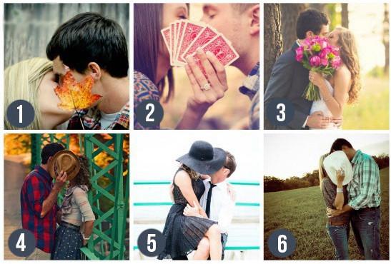 Скрыть поцелуй. Очень игриво смотрятся вот такие снимки со скрытым поцелуем. Можно использовать свадебный букет, шляпу или любой другой предмет. Блог свадебного агентства MuZa-wedding