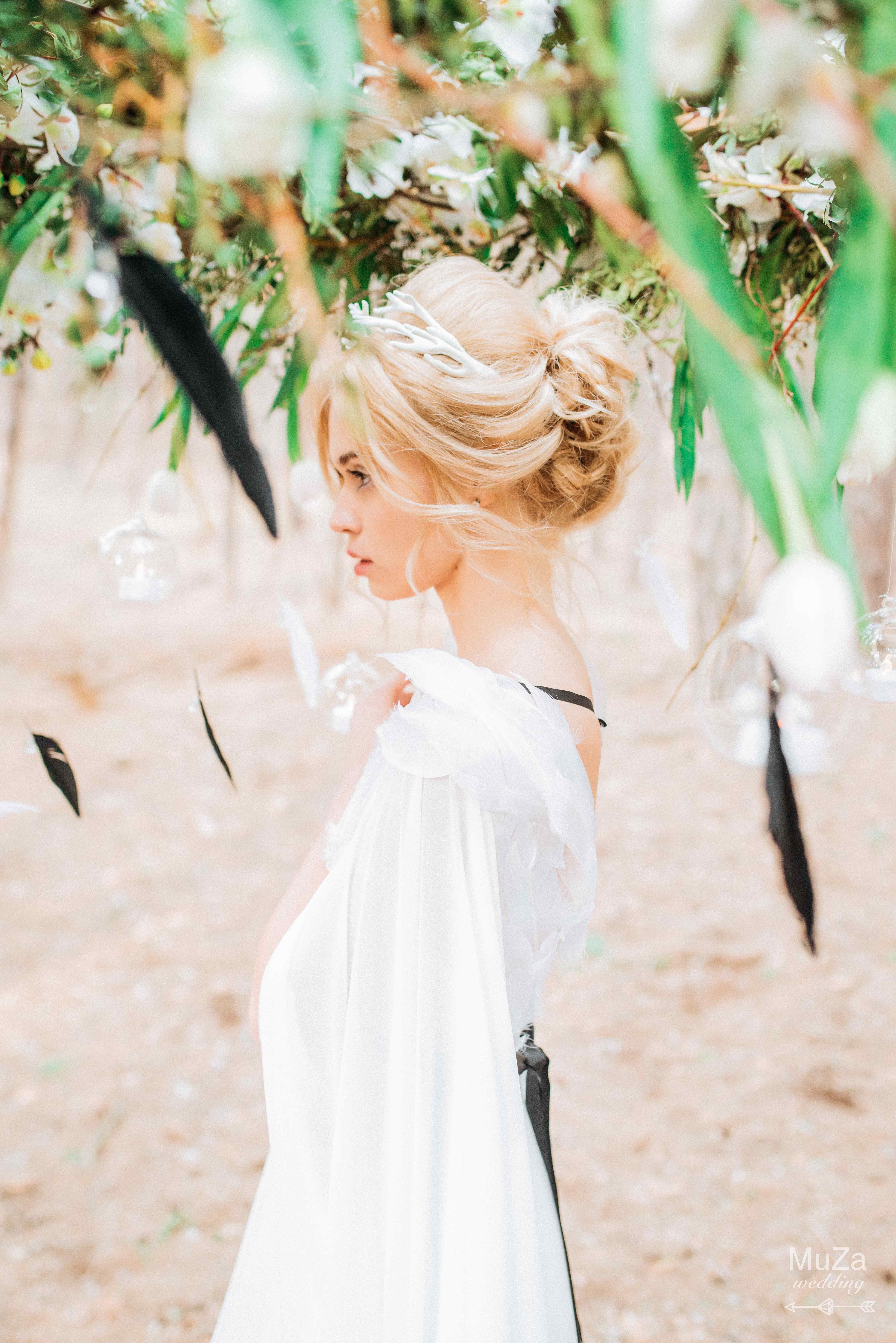 невеста, нежность, перья, натурально