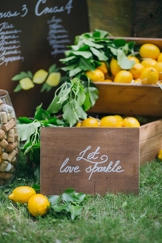 стильные детали на свадьбе, свадьба с лимонами, свадьба под открытым небом, свадебное агентство муза вединг, Киев, Украина, лучшее свадебное агентство