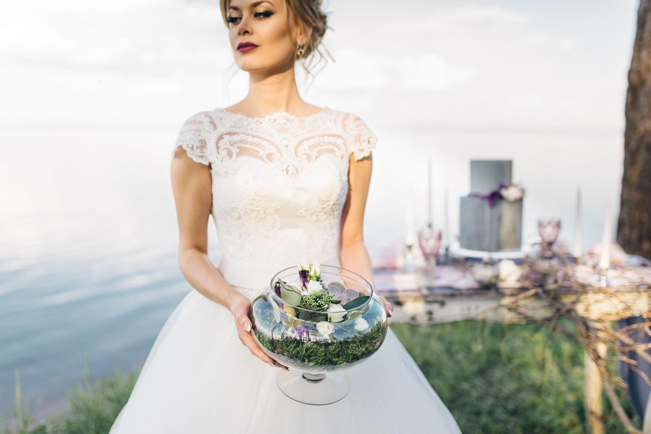 невеста и флорариум, фотосессия