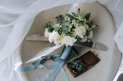 свадебный букет, коробочка для колец