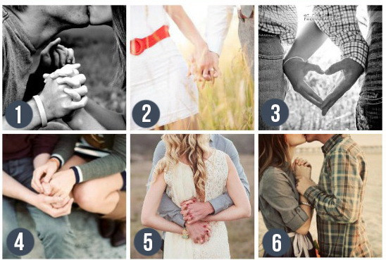 Держимся за руки - поза для свадебных фотографий. Держитесь за руки, сплетите пальцы, составьте сердце из ладоней... В общем, фантазируйте. Такие кадры смотрятся впечатляюще.