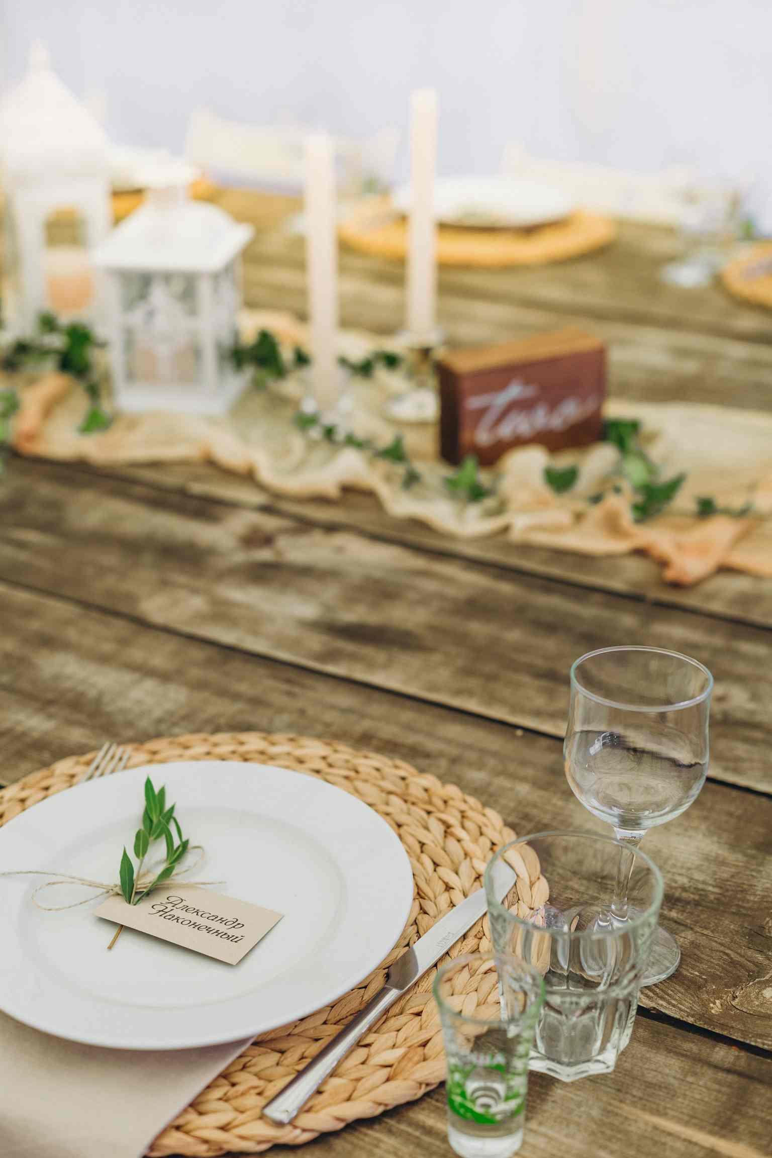 длинный стол, свадьба, подставки