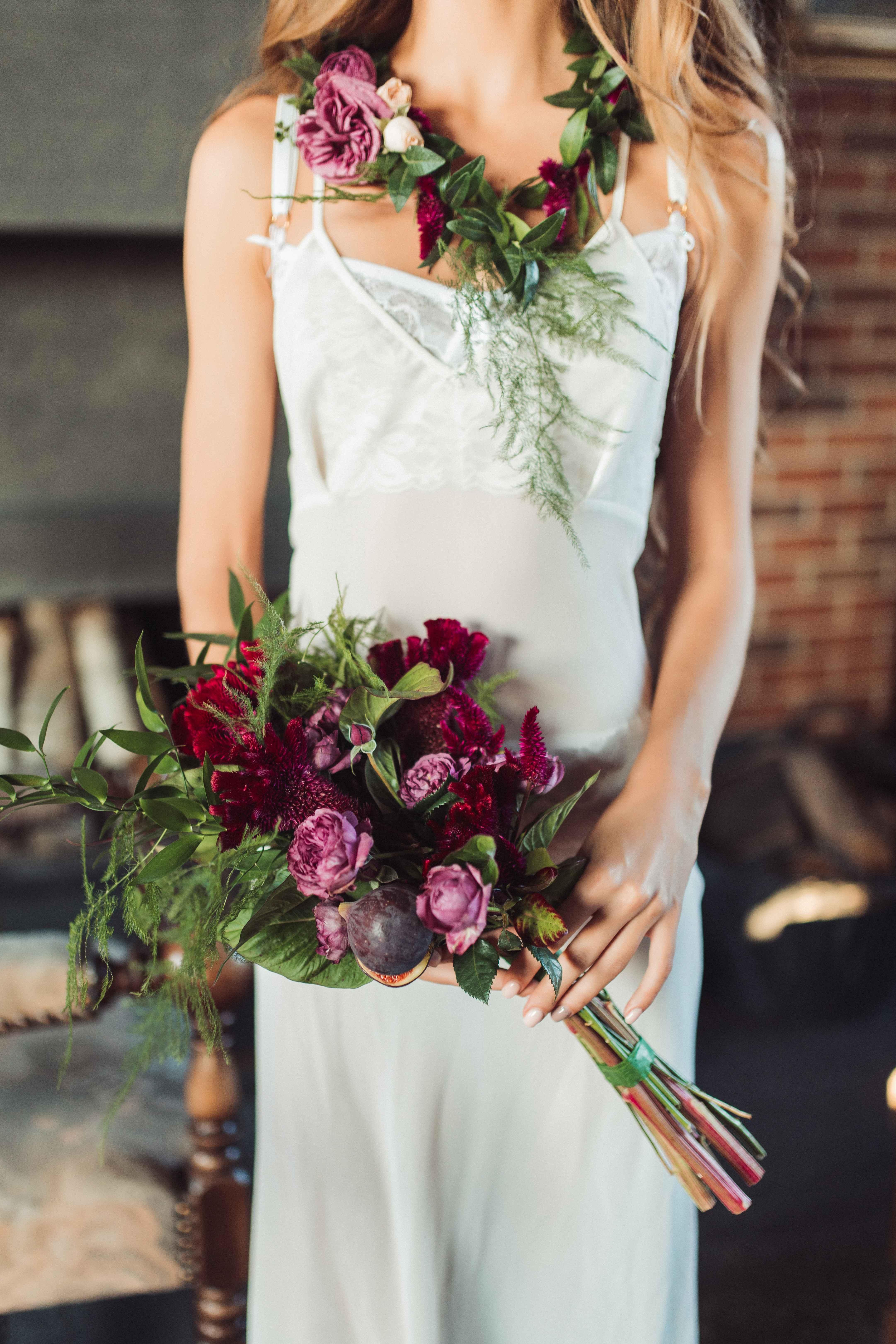 оригинальный букет невесты с инжиром