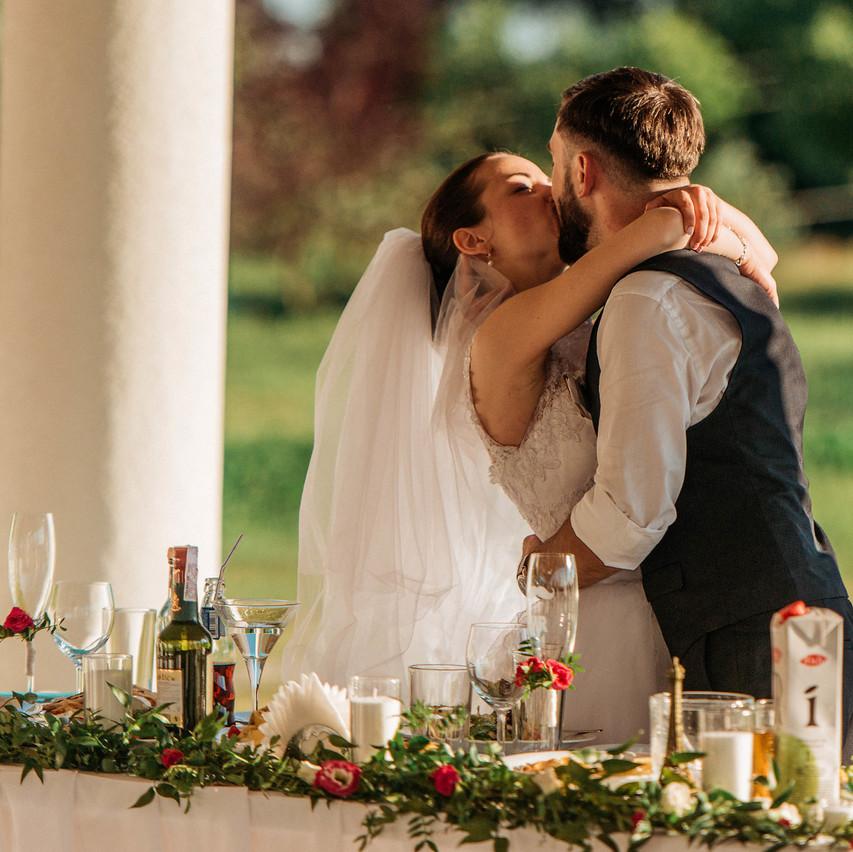 свадьба, поцелуй молодоженов