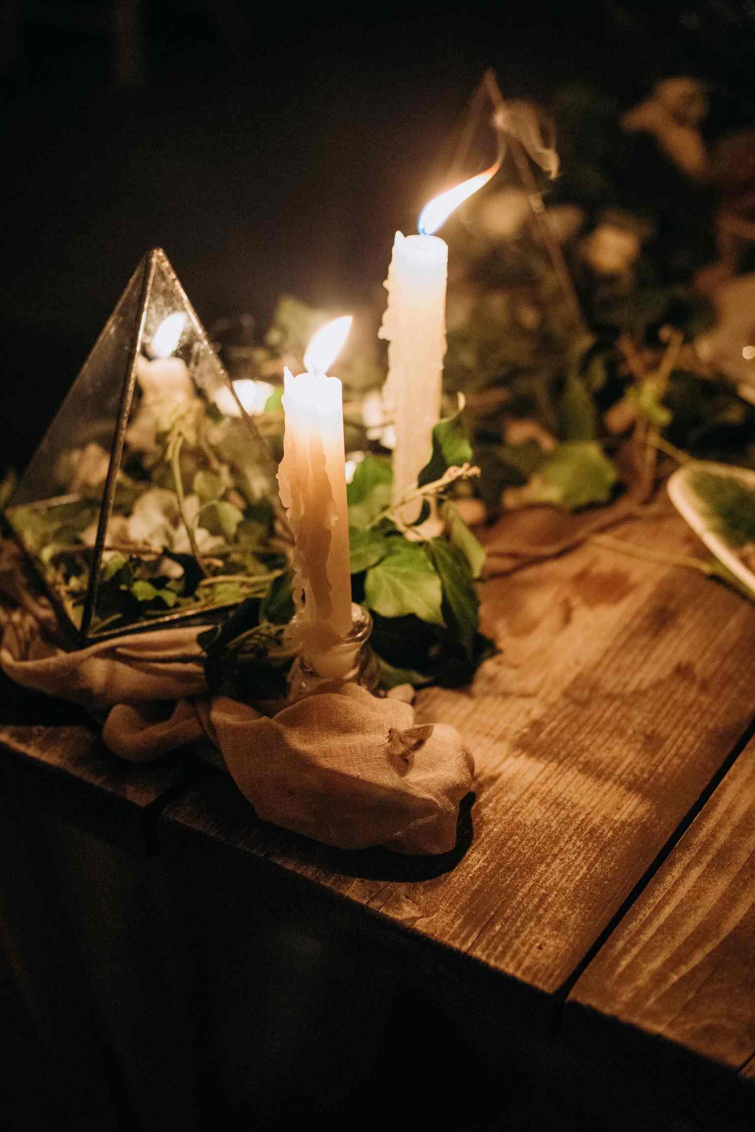 свадебный декор, свечи, вечер