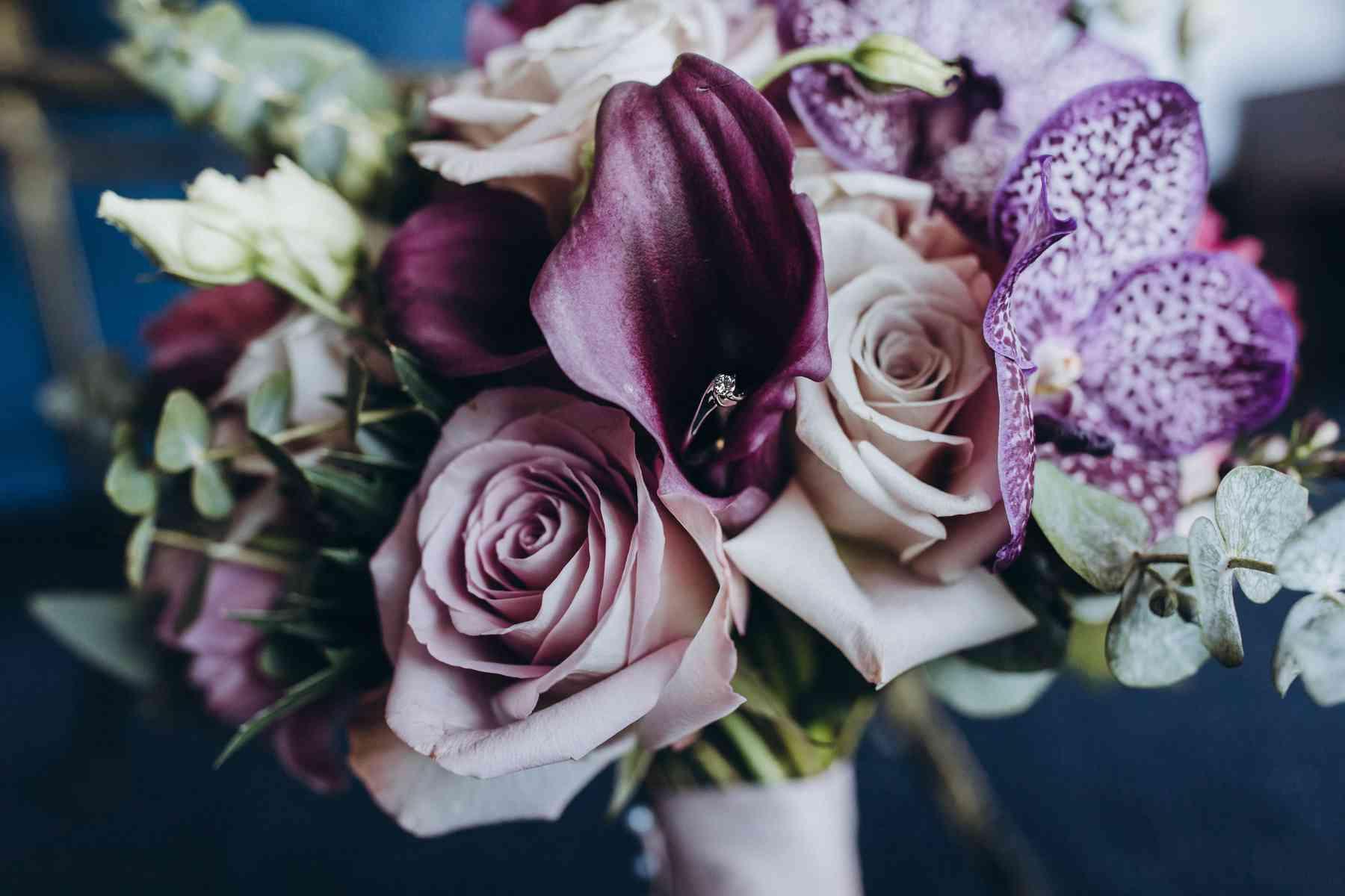 свадебный букет, кала, орхидея