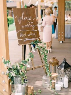 велкам-зона на свадьбе стиль рустик