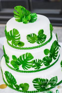 свадебный торт тропики монстера