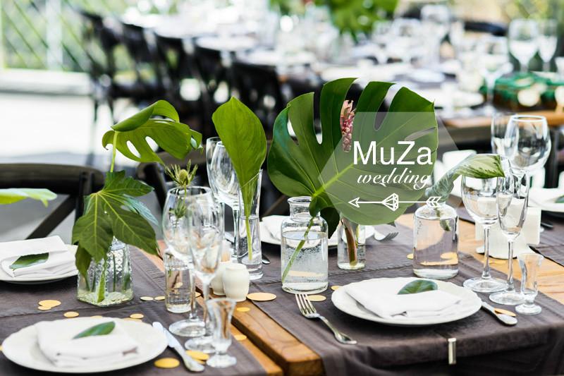 Reception Decor, свадебный банкет, свадебный прием, свадебный обед, декор свадебного стола на свадьбе в тропическом стиле, свадебное агентство MuZa-wedding, тропическая свадьба