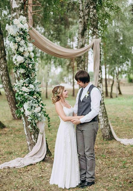 Свадебная церемония от свадебного агентства MUZA-wedding с лесу,в березовой роще для. Искренняя романтическая свадебная история для Кристины и Ярослава