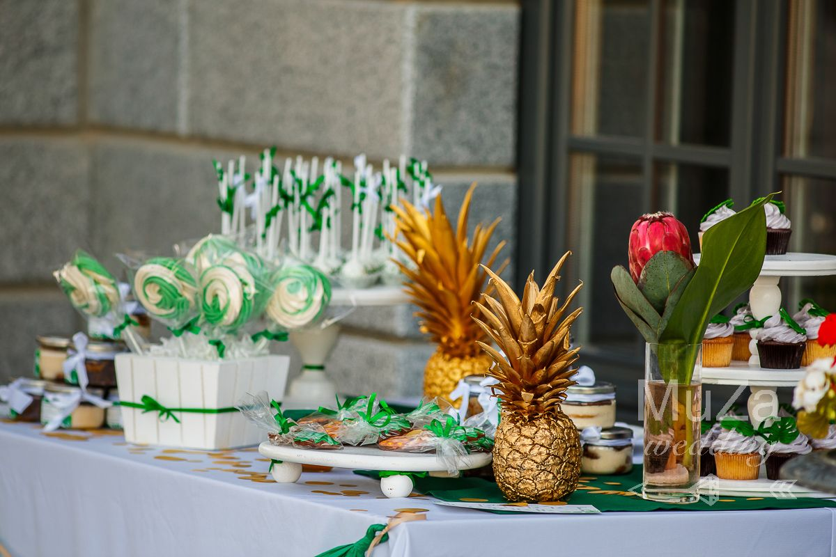 candy bar wedding gold ananas