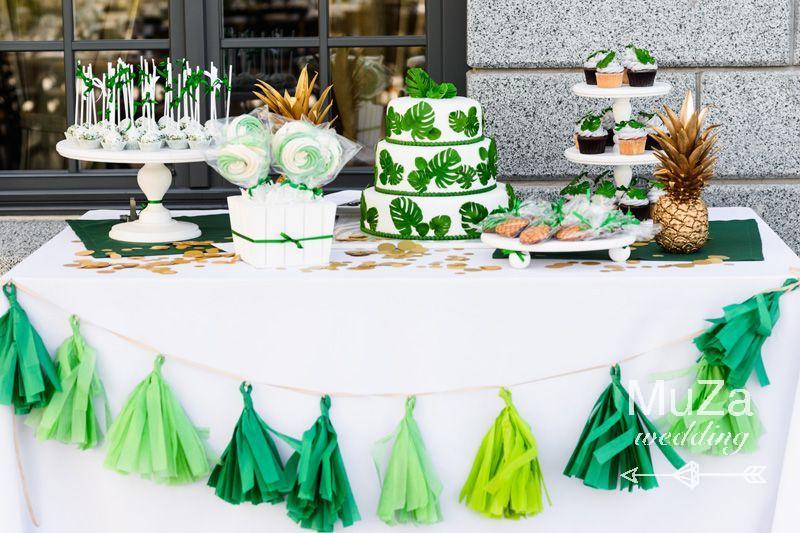 свадебный кенди-бар белый зеленый