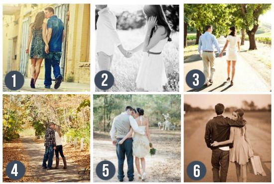 Прогулка. Что может быть проще прогулка за руку или в обнимку!  Не смотрите в камеру, улыбайтесь, обнимайтесь, целуйтесь, будьте максимально естественны.