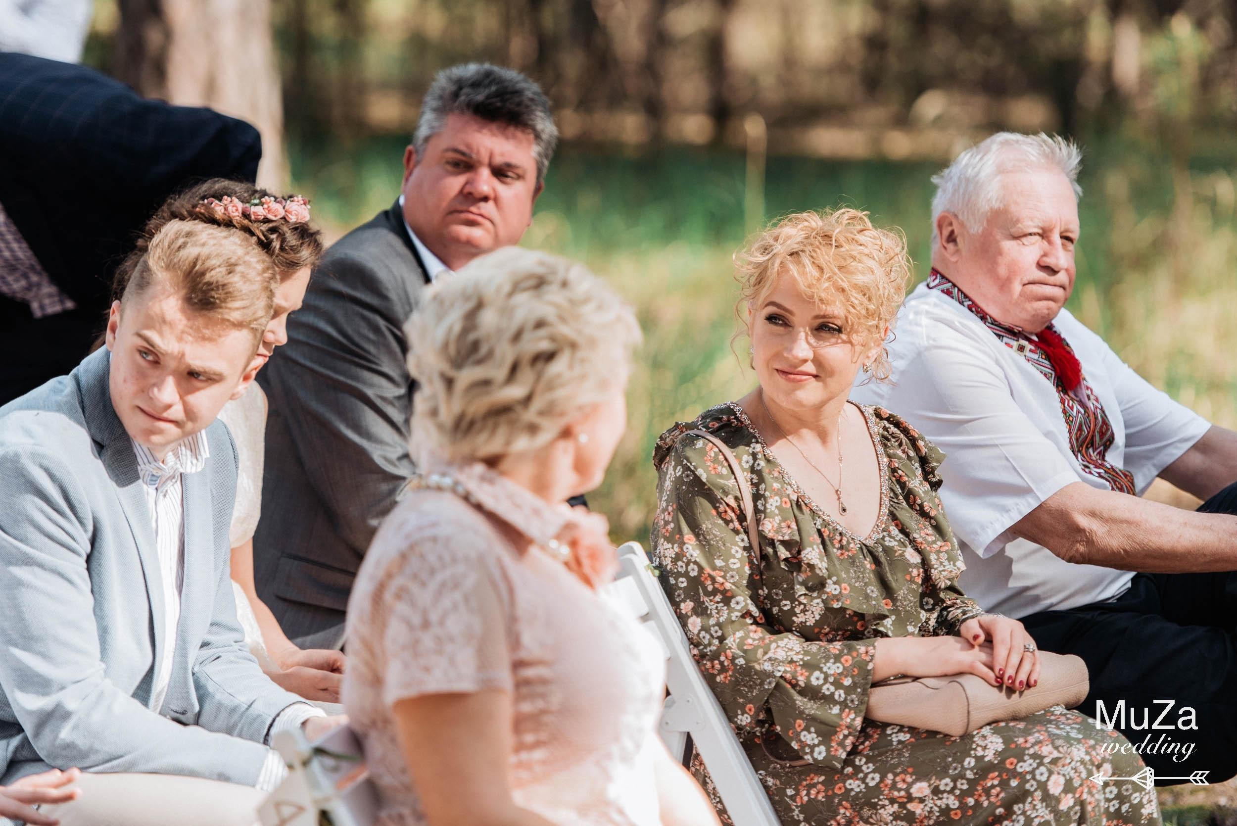 гости на свадьбе, лесная церемония
