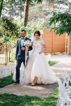 невеста с отцом, свадебная церемония