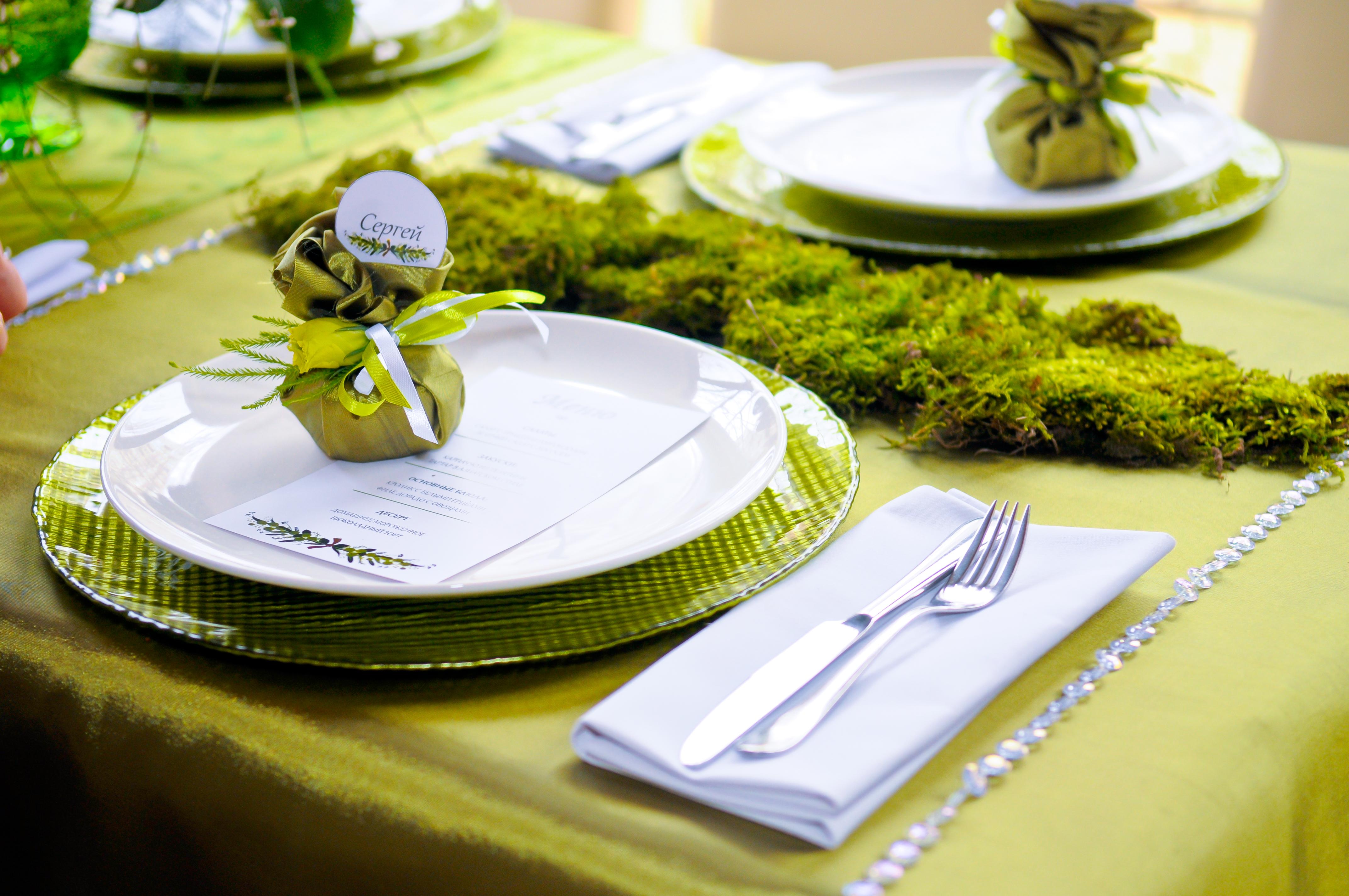 сервировка стола, лесная свадьба