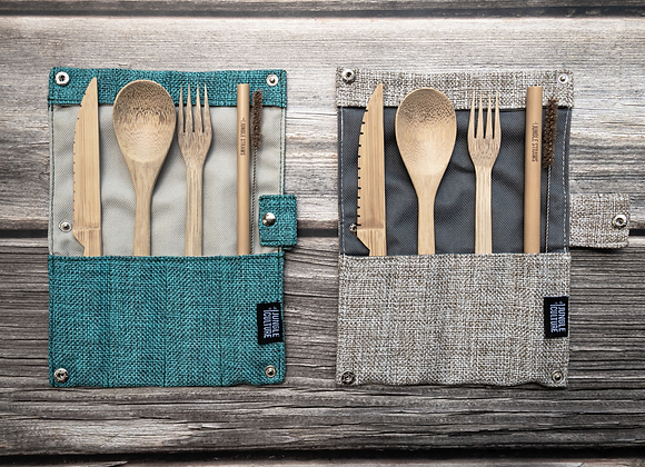 Bamboo Cutlery Set With straw and Straw Brush