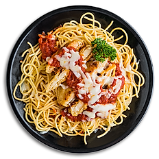 Chicken Parmigiana with Spaghetti
