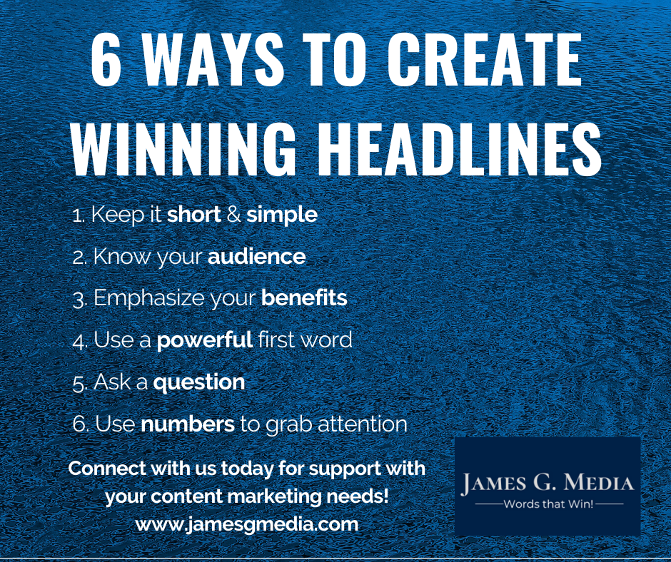6 tips on how to create winning headlines that will make your readers continue reading!