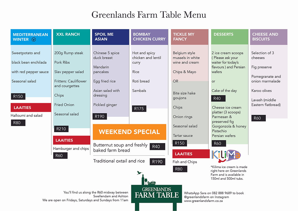 Greenlands food and drink menu feb 2021