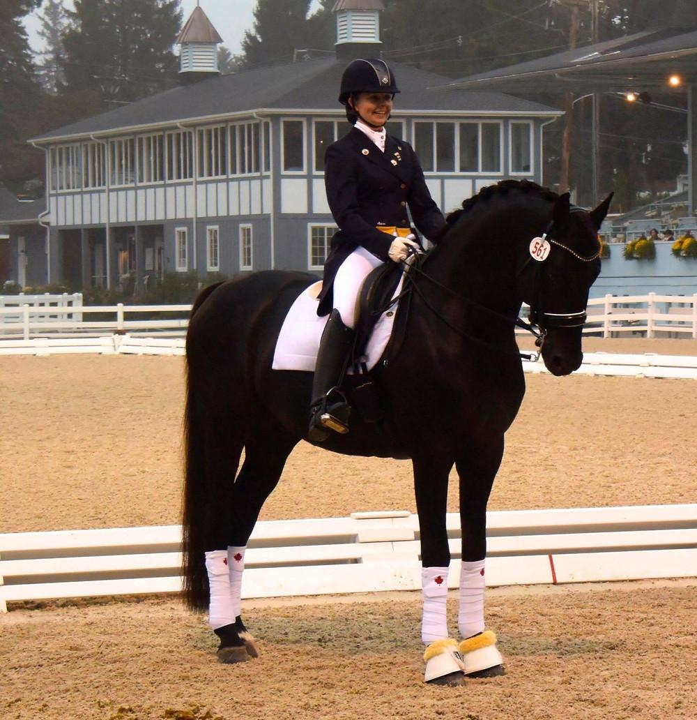 Janine Little and the stallion Sancerre, winners of the CDI*3 Intermediaire B, Dressage at Devon 2016