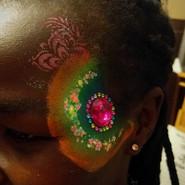 Circular Neon Eye Design Feather Glitter Jewels Cluster   Girl Girls Teen Teens Woman Women Ladies   Facepainting Facepainter Facepainters Facepaint Face Painting Paint Painter Regina SK Saskatchewan