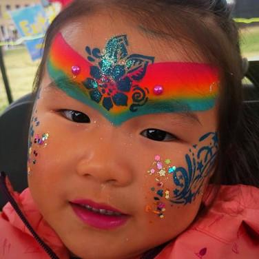 Princess Beautiful Rainbow Flower Princess Swirly Stars Glitter Jewels | Girl Girls | Facepainting Facepainter Facepainters Facepaint Face Painting Paint Painter Regina SK Saskatchewan