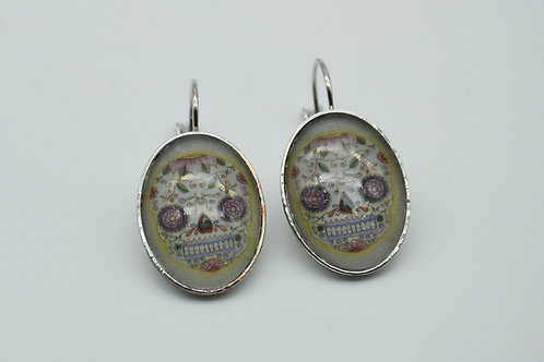 Boucles d'oreilles cabochon tête de mort mexicaine