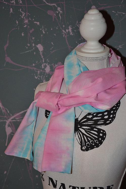 Foulard tie and dye bleu et rose