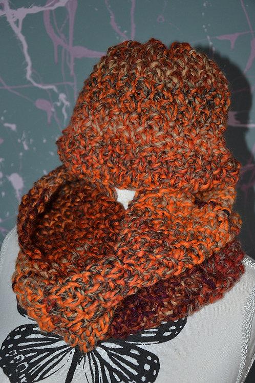 Ensemble bonnet snood au tricot